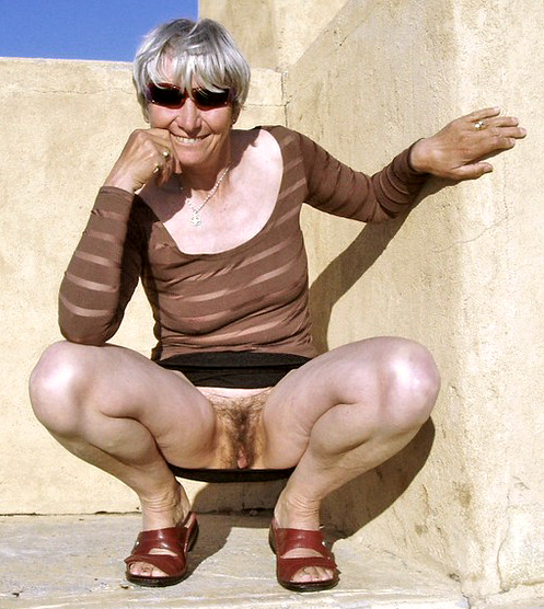 Grandmother naturist in public